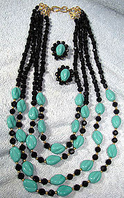 1950s TURQUOISE & BLACK GLASS NECKLACE & EARRINGS