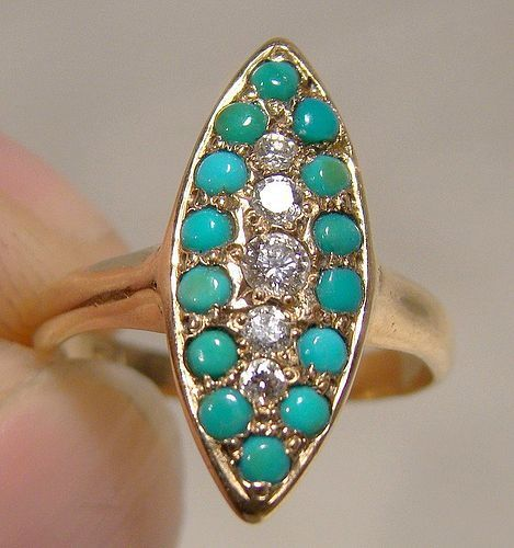 Victorian 12K Gold Turquoise & Diamonds Ring 1890 1900 12 K Antique