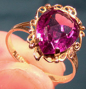 14K SYNTHETIC ALEXANDRITE RING c1960s-70s