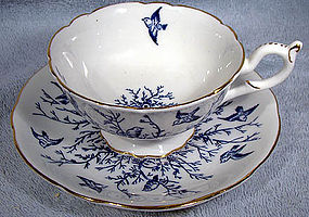 Decorative COALPORT 6368A FLYING BIRDS CUP & SAUCER