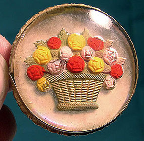 ESSEX CRYSTAL FLOWER BASKET PIN c1900
