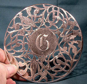 ART NOUVEAU STERLING OVERLAY TRIVET or TABLE STAND