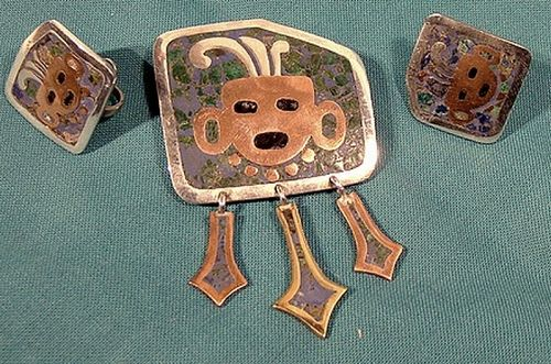 NESTOR MEXICO STERLING MOSAICO AZTECA PIN & EARRINGS