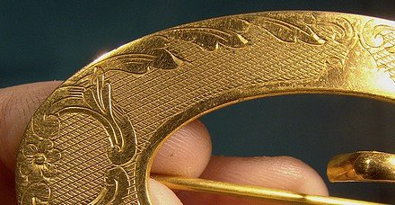 EA BLISS Gold Plated Buckle Sash Brooch 1895 Early Napier