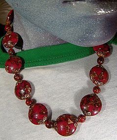 RED & GOLD MURANO GLASS Disc NECKLACE - NOS 1930s -1950