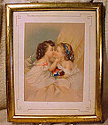 CHILDREN with DOLL CHROMOLITHOGRAPH in Frame c1860