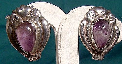 1930s Pair MEXICAN STERLING SILVER & AMETHYST OWL EARRINGS