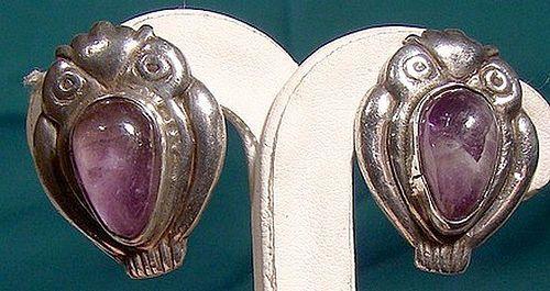 1930s MEXICAN STERLING & AMETHYST OWL EARRINGS