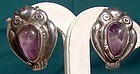 1930s MEXICAN STERLING & AMETHYST OWL EARRINGS