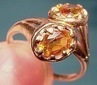 Edwardian 10K Rose Gold TOPAZ RING c1910-20