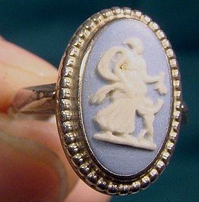 Sterling WEDGWOOD JASPERWARE RING