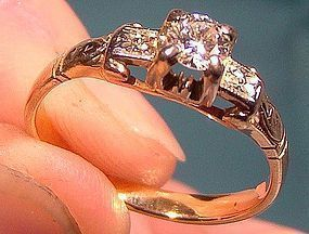Art Deco 14K LADY'S DIAMOND SOLITAIRE RING 1930 Size 6-1/2