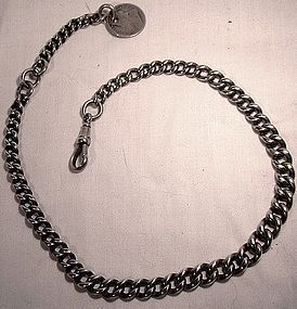 Heavy STERLING WATCH CHAIN w/ SILVER COIN FOB 1890