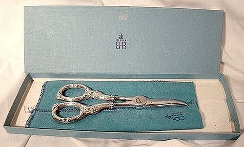 "BIRKS STERLING SILVER 6-1/2"" Pair GRAPE SHEARS in Box with Bag"