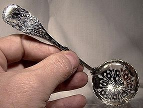 Ornate Hand Engraved English STERLING PIERCED SIFTER SPOON 1893