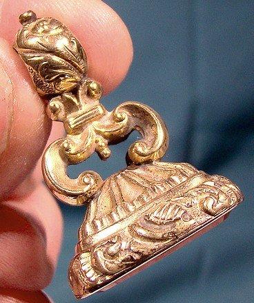 Regency ROLLED GOLD PLATE CARNELIAN WATCH FOB c1830