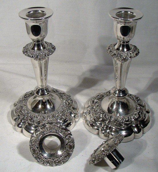 ELLIS-BARKER Silver Plate CANDLESTICKS BOBECHES 1910 7 inch