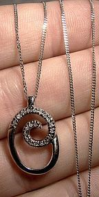 10K White Gold Diamonds Pendant Necklace 10 K Chain 1970s