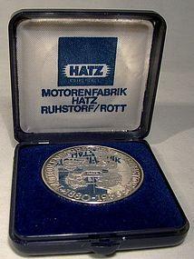 HATZ MOTORENFABRIK CENTENNIAL SILVER MEDALLION in Case
