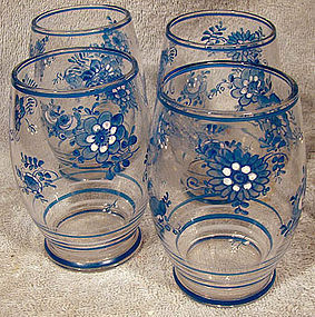 4 Czech HAND PAINTED Blue FLOWER GLASSES 1920 Tumblers