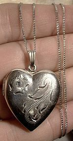 Engraved STERLING HEART PHOTO LOCKET on CHAIN c1930s