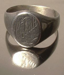 Edwardian STERLING SIGNET RING 1910-20 Cobalt
