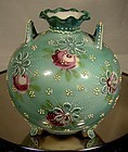 Japanese MORIAGE Green FOOTED & HANDLED PORCELAIN VASE 1880 Roses