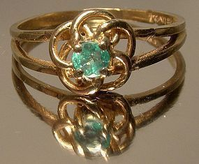 10K Yellow Gold Natural EMERALD RING 1950s 1960