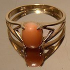 10K Pink Coral Cabochon Modernist Yellow Gold Ring 1960s