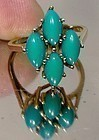 10K Turquoise Cabochons Ring 1960s Size 6-1/4 Genuine Gem