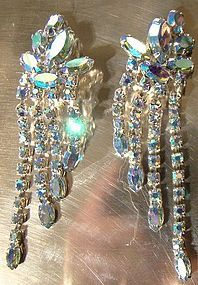 Cool 1960s BLUE AB RHINESTONES SWEEP DANGLE EARRINGS