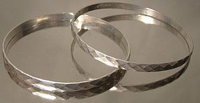 Pair STERLING DIAMOND CUT BANGLE BRACELETS 1930s-40