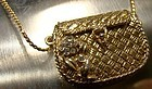 1928 GOLD PLATED RHINESTONE PURSE NECKLACE