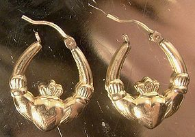 10K YELLOW GOLD CLADDAGH HOOPS PIERCED EARRINGS