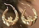 10K YELLOW GOLD CLADDAGH HOOPS PIERCED EARRINGS