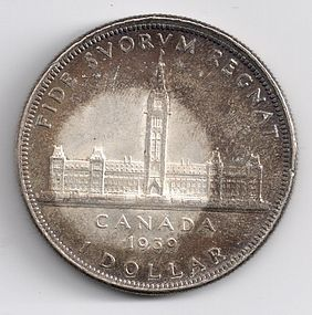 1939 CANADA SILVER ONE DOLLAR COIN - Wild Toning