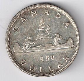 1950 CANADA SILVER $1 ONE DOLLAR COIN AU