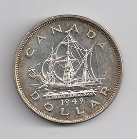 1949 CANADA SILVER $1 ONE DOLLAR COIN MS60