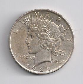 1922 U.S. SILVER PEACE $1 ONE DOLLAR COIN EF