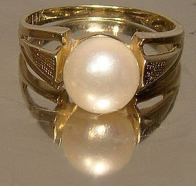 14K LARGE SINGLE PEARL RING 1960s Size 6-1/4