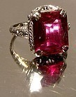 14K Art Deco White Gold Filigree Synthetic Ruby Ring 1920s Size 4-1/2