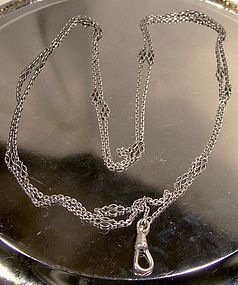 Long EDWARDIAN STERLING SILVER WATCH CHAIN c1910