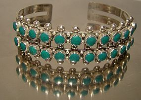 Zuni Sterling Silver Turquoise Double Row Cuff Bangle Bracelet 1960s
