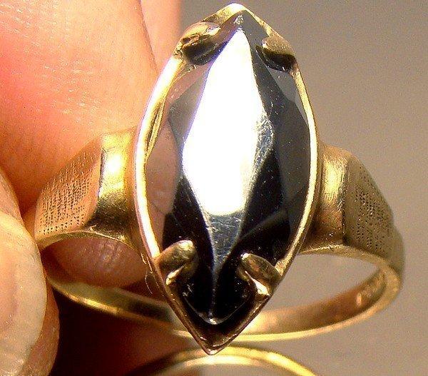 10K BLACK ALASKAN DIAMOND HEMATITE RING c1950s-60s
