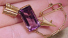 Victorian 14K AMETHYST ARROW BAR PIN c1900