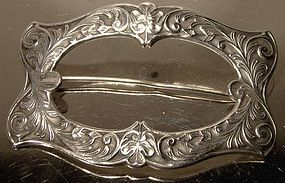 ART NOUVEAU STERLING FRONTED SASH BROOCH c1900