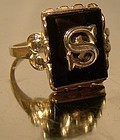 10K Gold Black Onyx S Signet or Initial Ring 1930s-50