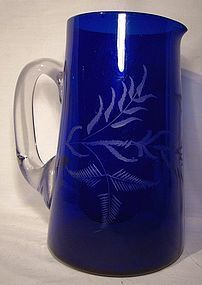 Victorian COBALT GLASS HAND ETCHED WATER PITCHER