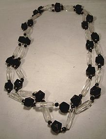 Genuine ART DECO BLACK & WHITE CRYSTAL FLAPPER NECKLACE