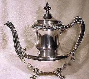 Footed REED & BARTON SILVER PLATED COFFEE POT 1897